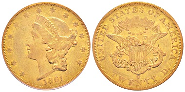 Nr. 1329: USA. 20 Dollars, New Orleans 1861. Sehr selten. PCGS AU53. Taxe: 10.000,- Euro.